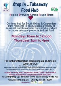 Advert for Food Hub initiative to help famailies in need